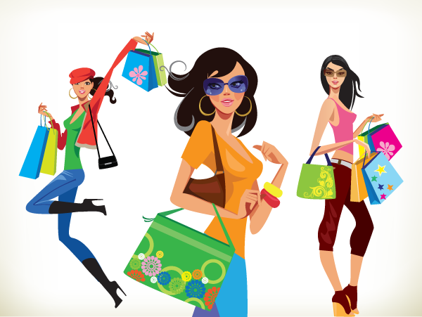 shopping-girls-free-vector